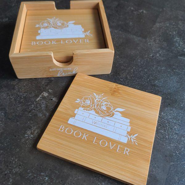 Book Lover Bamboo Coaster Set