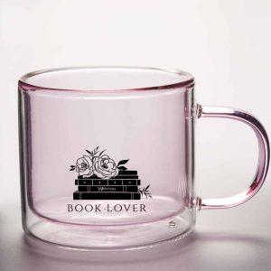 Pink Book Lover Glass Mug